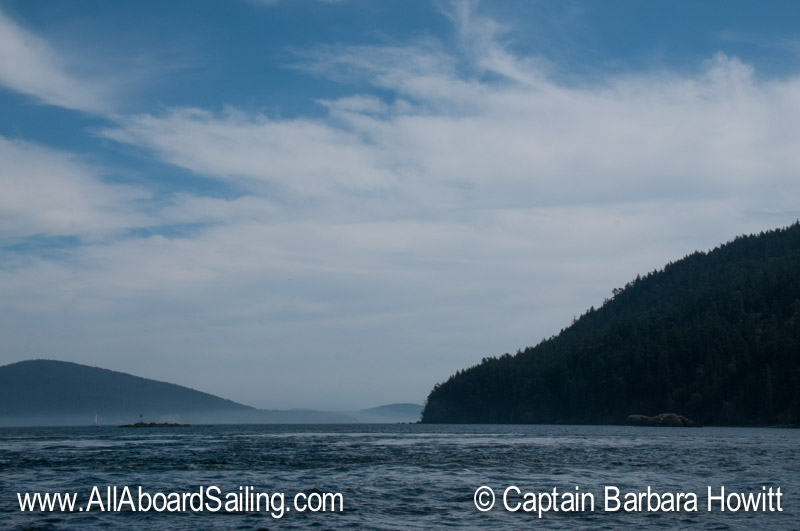 Sailing through Obstruction Pass into Rosario Strait
