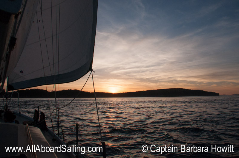 Sunset sailing to Friday Harbor