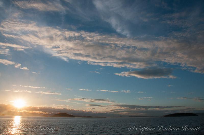 Sunset sail Spieden Channel