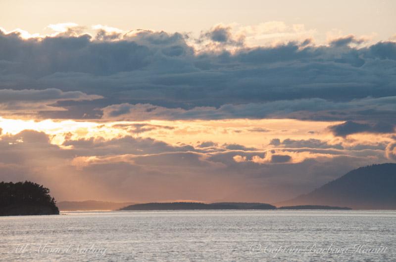 Sunset Sail looking North West San Juan islands