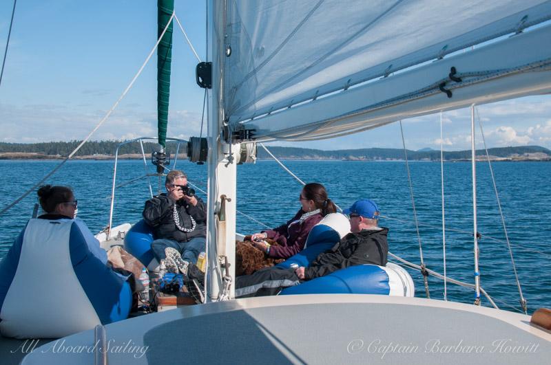 Friends enjoying their sail